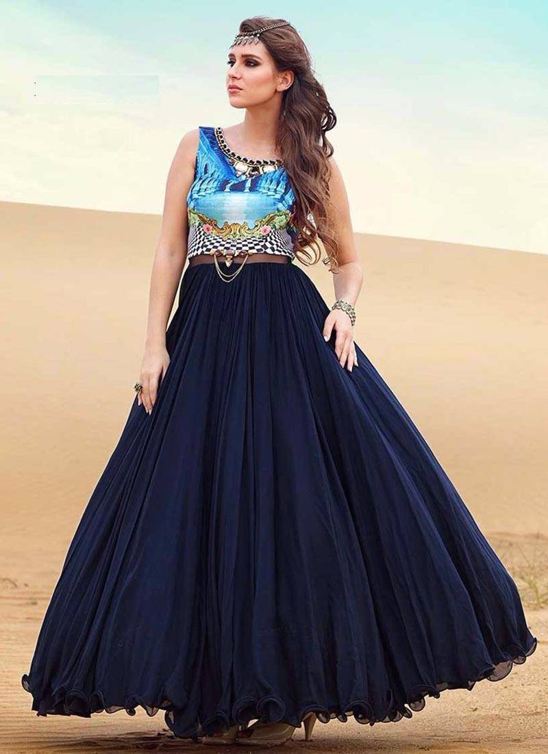 Buy Blue embroidered silk semi stitched indian evening gowns Online
