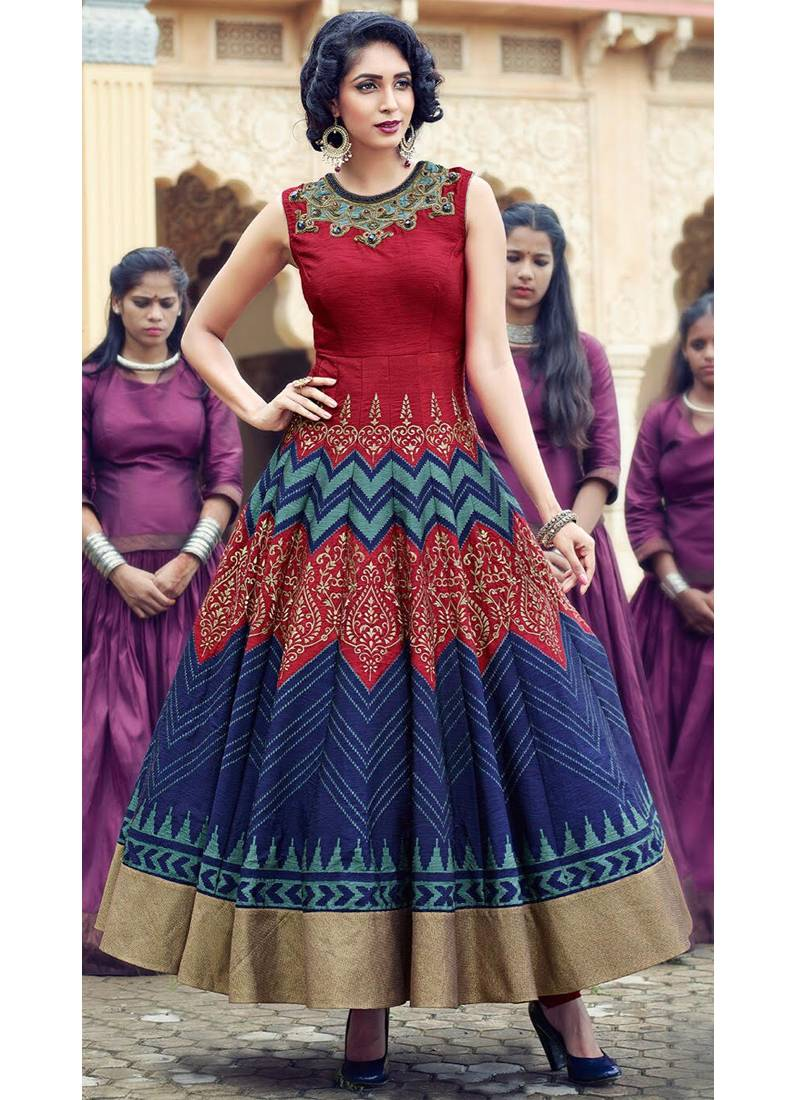 Buy Red embroidered silk semi stitched indian evening gowns Online