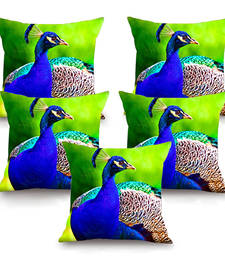 Peacock HD Digital Premium Cushion Cover - Set of 5 (16 x 16 Inch)