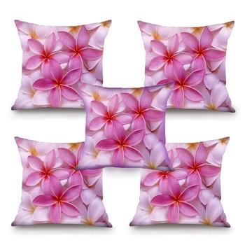 Pink Flower HD Digital Premium Cushion Cover - Set of 5 (16 x 16 Inch)