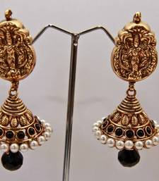 Buy Lakshmi Studded Stone Gold Pearl Layered Jumka - Black danglers-drop online