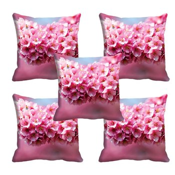 Pink Flower HD Digital Premium Cushion Cover - Set of 5 (16 x 16 Inch)