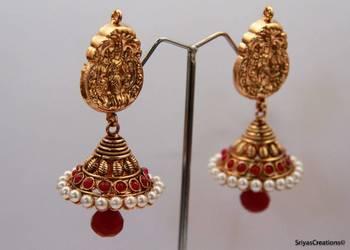 Lakshmi Studded Stone Gold Pearl Layered Jumka - Red