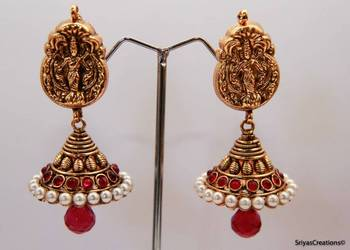 Lakshmi Studded Stone Gold Pearl Layered Jumka - Kemp