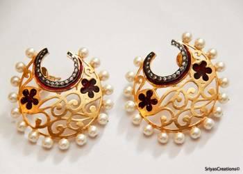 Half Hoop Embellished Filigree Earrings - Red