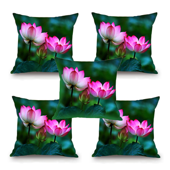 Buy lotus flower hd digital premium cushion cover set of 5 16 x lotus flower hd digital premium cushion cover set of 5 16 x 16 inch mightylinksfo