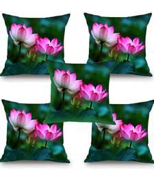 Buy Lotus Flower HD Digital Premium Cushion Cover - Set of 5 (16 x 16 Inch) cushion-cover online