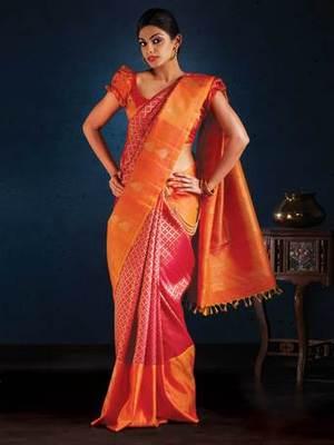 7cf29f151b Aavaranaa Kanchipuram Sarees orange and red silk sarees online ...