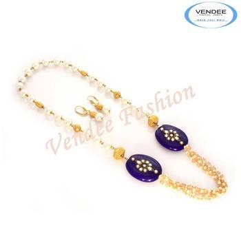 Fashion jewelry Semi precious stone necklace set (7018)