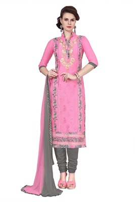 Women Pink embroidered cotton poly unstitched salwar with dupatta