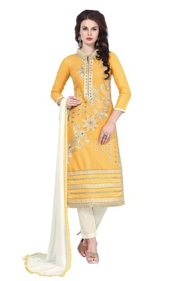 Women Yellow embroidered cotton poly unstitched salwar with dupatta
