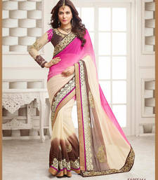 Buy Designer Wedding Embroidered Lace Work Saree silk-saree online