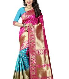 Buy rani pink woven banarasi silk saree with blouse party-wear-saree online
