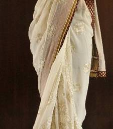 PRINCESS CREAM-GOLDEN GEORGETTE BLING SAREE shop online