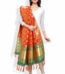 Buy Banarasi Dupatta By Ravechi Fab (Orange & Green) stole-and-dupatta online
