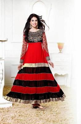a3633e9a86 Zarine Khan Kali Designer Red And Black Anarkali Suit - V and V Shop ...