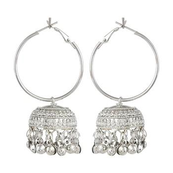 Silver Bali White metal Hoop jhumka Earring