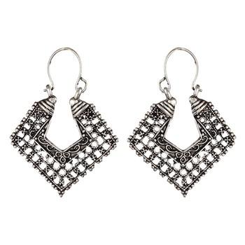 Silver Oxidised Hoop Jhumka Earrings