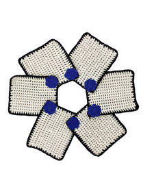 Buy White Brown Crochet Coaster Set with Blue Motif (Pack of 6) coaster online