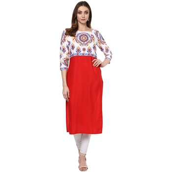 red printed crepe stitched kurti