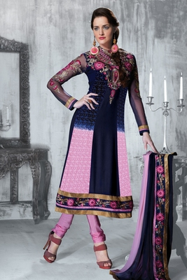 Gorgeous Blue and Pink Anarkali Salwar Suit