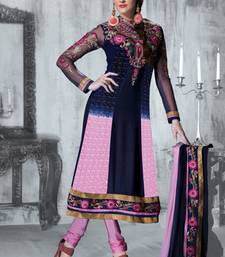 Buy Gorgeous Blue and Pink Anarkali Salwar Suit collar-neck-design online