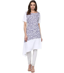 white printed crepe stitched kurti