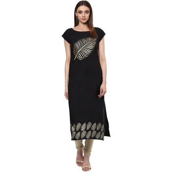 black printed crepe stitched kurti