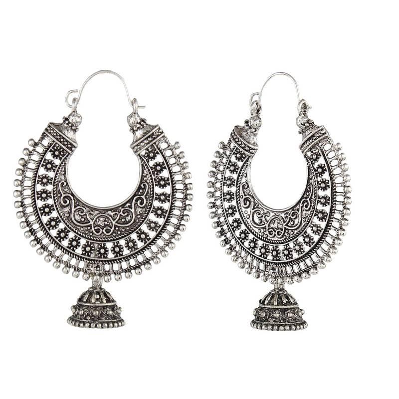 Silver Black Metal Oxidised Hoop Earrings