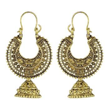 Gold Bali Hoop Jhumka   Earrings