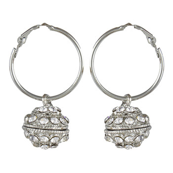 Silver White Metal Hoop Elegant Earrings