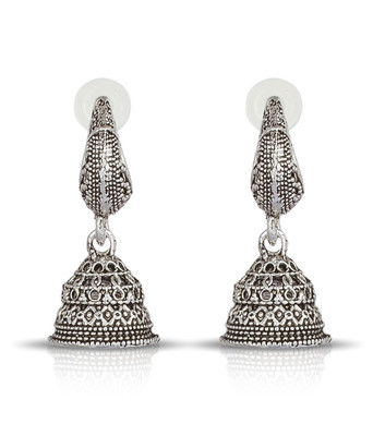 Silver Black Metal Oxidised Jhumki Earrings