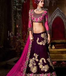 Buy Dark purple embroidered velvet unstitched lehenga wedding-season-sale online