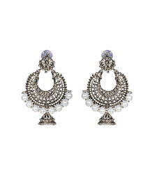 Silver Chandbali Jhumka Pearl Earrings