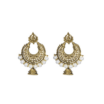 Gold Chandbali Jhumka   Earrings