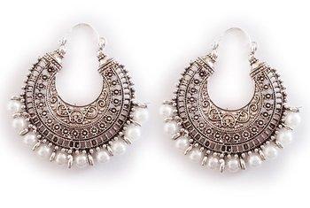 Silver Oxidised Hoop Bali Pearl Earrings