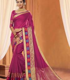 Buy Magenta plain cotton saree with blouse cotton-saree online