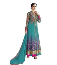 Buy Blue embroidered Net semi stitched salwar with dupatta semi-stitched-salwar-suit online