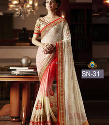 Buy Multicolor embroidered lycra saree with blouse wedding-saree online