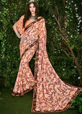 Peach printed brasso saree with blouse