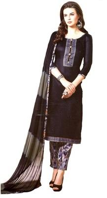 Black Embroidered Lawn Cotton Unstitched Salwar With Dupatta