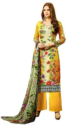 Yellow Embroidered Lawn Cotton Unstitched Salwar With Dupatta