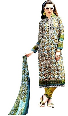 Blue Embroidered Lawn Cotton Unstitched Salwar With Dupatta