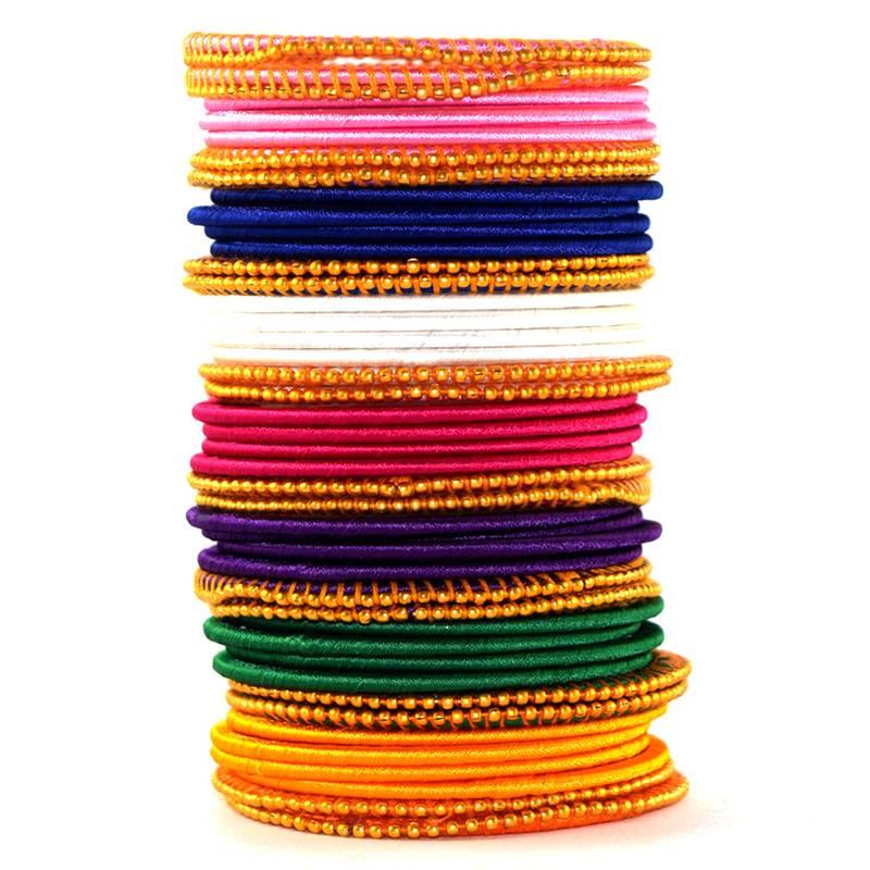 Kanjivaram Beads: Multicolor Silk Thread With Beads Bangle (43 Pcs)