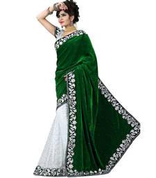 Buy Green embroidered velvet saree with blouse velvet-saree online
