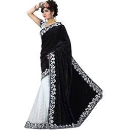 Buy Black embroidered velvet saree with blouse velvet-saree online
