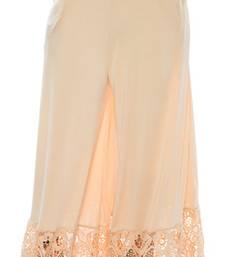 Buy Cream plain lycra fabric free size palazzo pants palazzo-pant online