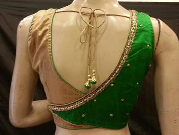 Green rawsilk handwork blouse
