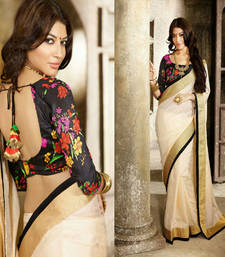 Buy Cream plain chanderi saree with blouse chanderi-saree online