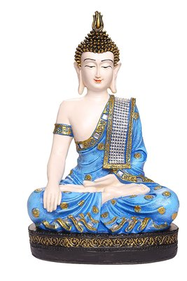 India Polyresine Sitting Buddha Idol Showpiece Blue  and  White